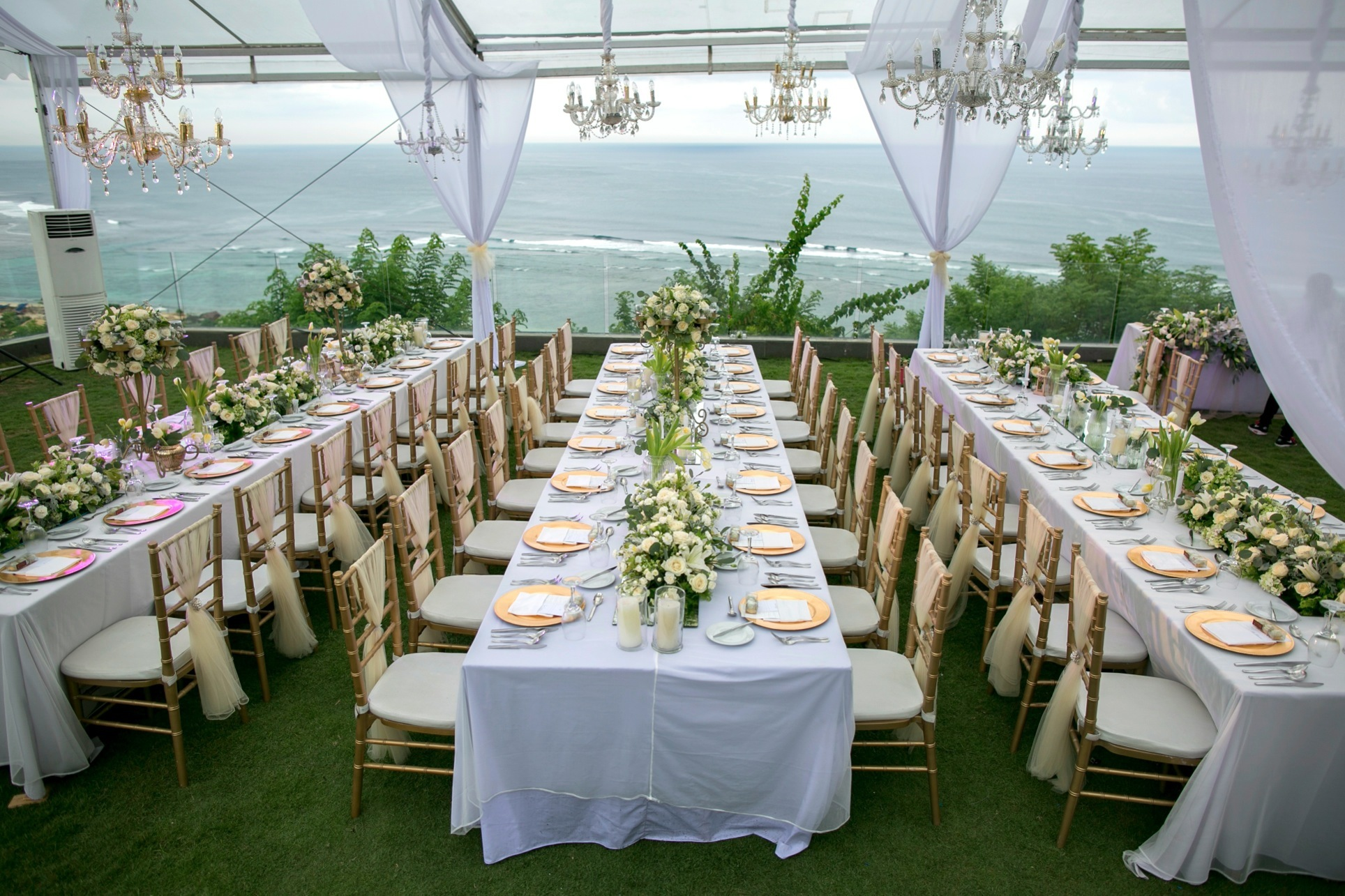 Latitude villa white green elegant garden wedding for Bali wedding decoration ideas